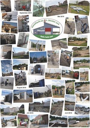 Collage mit Fotos rund um das Bauvorhaben Heizhaus und Wärmetrasse